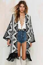 NEW GLAMOROUS NASTY GAL AZTEC BOA BLANKET DUSTER LONG CARDIGAN JACKET RAT S 10