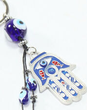 "Turkish Blue Evil Eye 2"" Hamsa Hand Keychain Blessing Protection Religious Gift"