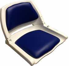 Folding Plastic Fishing Boat Seat - White / Blue