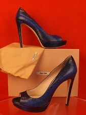 NIB MIU MIU PRADA BLUE PACIFICO PYTHON LEATHER PRINT OPEN TOE PUMPS 40 $660