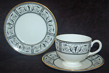 BEAUTIFUL WEDGWOOD TRIO - BLACK WHITE BAND - SCROLLS AND FIGURES - X9479