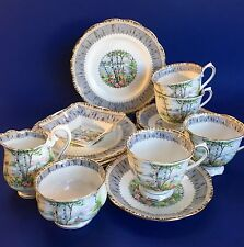 Royal Albert Silver Birch 15 Snack Set Tea Cups Plates Bone China Teacup England