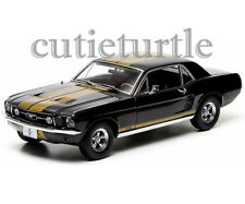 Greenlight 12897 1967 Ford Mustang GT 1:18 Diecast Model Car Black Gold Stripes