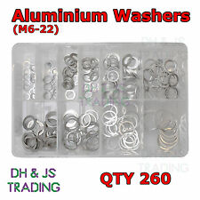 Assorted Box of Aluminium Washers Sealing Sump Washer Fasteners M6 8 10 12 14 22