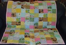 "Handmade Baby Girl Crib Quilt, John Deere & Farm Animals, 38"" x 46.5"""