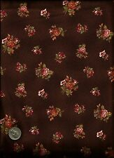 """""""Isabella"""" Print rose green cream on brown Fabric by Anna Fishkin - Red Rooster"""