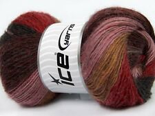 4 PELOTES DE LAINE ICE YARNS MADONNA (40% LAINE 30% MOHAIR) MAROON ROSE ROSE ...