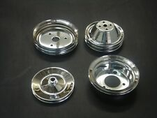 NEW 3 Pulley Set Chrome SB Chevy 2/3/1 Groove Pulleys SWP Crank PS  Water Pump