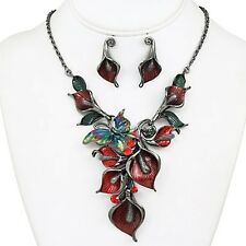 Dark Silver Red and Multi Colored Butterfly and Crystal FASHION Necklace Set