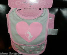 NEW BABY PHAT BURP CLOTH & BIB PINK GRAY HEARTS SOFT BABY SOFT COTTON KNIT GIFT