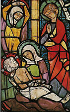 VINTAGE PRAYER BOOK CARD: MEDIEVAL STAINED GLASS: THE DEPOSITION FROM THE CROSS
