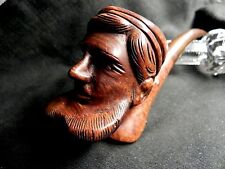 RARE ANTIQUE ESTATE STUNNING HAND CARVED PIRATE FRENCH PIPE