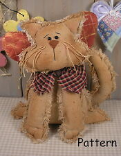 PATTERN Primitive Raggedy Kitty Cat Angel Doll Folk Art Sewing Fabric Cloth #43