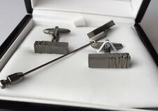 LANVIN Engraved Ruthenium-Plated Cufflinks And Tie Pin Set RRP £215
