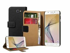 Wallet BLACK Leather Case Cover Pouch Saver For Samsung Galaxy J7 Prime