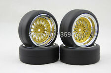 4x 1/10 New HIGH SPEED Drift BBS Gold Chrome RC Car Wheel Tyres / Tires 6mm OS