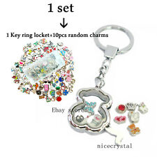 1 set Plain Bear Floating locket keychain + 10 Floating charms Free shipping