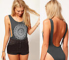 Womens Printed* Dark Grey Backless Cut Out Stretch Bodysuit Party Leotard Top