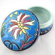 Boite/Bonbonnière Ancien EMAUX de LONGWY Bleu Floral French Faïence/ceramic/20th