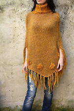 Cape Mantle Vintage 80s Handmade Wool Knitted Poncho Jumper Top wrap L Camel