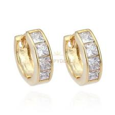 New Fashion Simple Design 18K Gold Plated White Crystal Small Ear Hoop Earrings