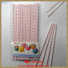 "25pcs 6"" (15cm) Paper Sticks For Cake Pops or Lollipop Candy - Heart Red printin"