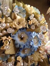 Quinceanera Flower Bouquet & Headpiece Crystal Blue & Beige Ribbons