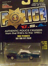 NEW YORK CITY POLICE - 1968 PLYMOUTH - PATROL CAR - 1:62 SCALE
