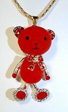 BETSEY JOHNSON CUTEST RED CARTOON BEAR WITH CRYSTALS PENDANT