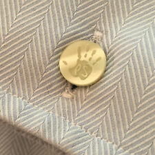 NEW! PAUL SMITH PS HAND PRINT SHIRT BUTTON SILVER PLATED CUFF LINKS WITH POUCH