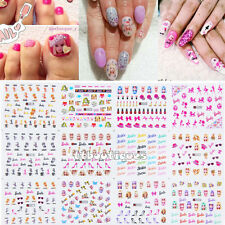 12 Sheets Large Water Nail Art Transfer Sticker Decal Girly Doll Pink Barbie