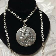 Vintage George And The Dragon STERLING SILVER Necklace G/Detail HM 1978 16.6g