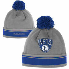 BROOKLYN NETS NBA SPECIAL RELEASE CUFFED POM KNIT BEANIE HAT MITCHELL & NESS NWT