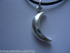 White Silver Plated Alloy Half Moon 31mm Pendant Necklace(B07453)