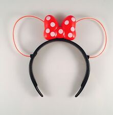 1 Red Light-Up Bows Minnie Mouse LED Headbands Polka Dot Blinking Flashing Rave
