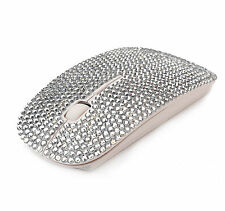 WIRELESS BLING CRYSTAL DIAMANTE RHINESTONE COMPUTER LAPTOP PC USB MOUSE Silver