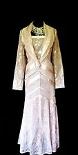 DAMIANOU Silvery Pink Size 16 Ladies Designer Lacy Wedding Dress & Jacket Outfit