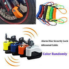 Alarm Disc Security Lock + Remind Cable Motorcycle Dirt Road Bike Brake Rotor AL