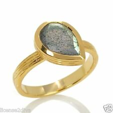 YELLOW GOLD OVER STERLING SILVER LABRADORITE SOLITAIRE RING! SIZE 8! FREE SHIP!