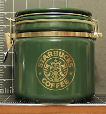 Starbucks Green Coffee Container Jar with latch seal & gold trim Japan Mermaid