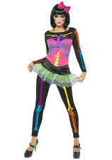 Neon Skeleton with Skirt Adult Costume Size LG 12-14