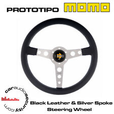 MOMO PROTOTIPO 350MM BLACK LEATHER SILVER SPOKE STEERING WHEEL