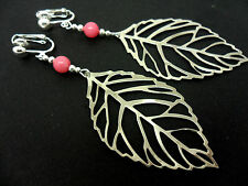 A PAIR OF  BIG  DANGLY SILVER COLOUR  LEAF & PINK BEAD CLIP ON  EARRINGS. NEW.