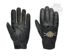 HARLEY-DAVIDSON MENS FUGITIVE BLACK GRAY 2XL LEATHER GLOVE, NEW WITH TAG