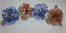 Vintage Murano Italian Art Glass FLOWERS Pink BLUE 4 Piece Set