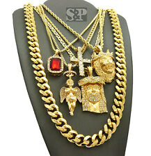 Hip Hop Iced Red Ruby, Cross, Lion, Angel, Jesus Pendant Chains 6 Necklace Set