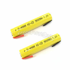 2 pcs 5/4 AAA 3A 900mAh Ni-Cd Rechargeable Battery Flat Top with Tab Yellow