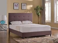 BROWN Fabric Upholstered FULL Platform Bed Frame &Slats Modern Home Bedroom