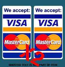 WE ACCEPT VISA MASTERCARD DECAL STICKER X2 SHOPFRONT WINDOW STORE MERCHANT USE
