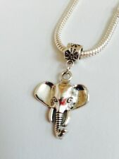 ELEPHANT Sterling Silver Plated Dangling Charm Bead For European Charm Bracelets